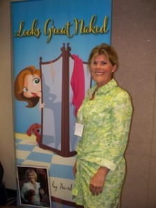 Sandi Hutcheson with Banner