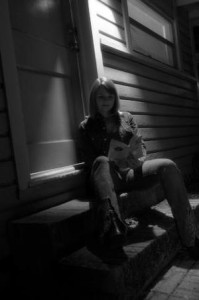 Darlyn on steps at Kerouac House