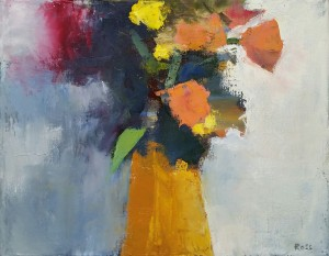 Robert Ross flowers in an ochre vase